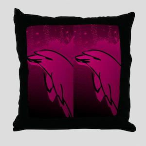 Dolphin Flip Flops (Pink) Throw Pillow