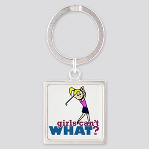 Girl Playing Golf Square Keychain