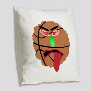 Funny March Madness Basketball Burlap Throw Pillow
