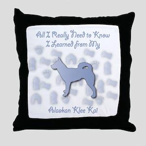 Learned Klee Kai Throw Pillow