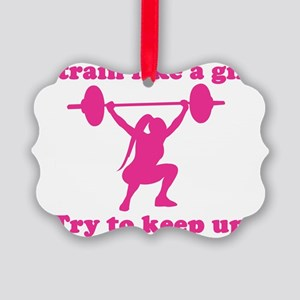 Train Like a Girl Picture Ornament