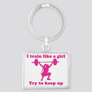 Train Like a Girl Landscape Keychain