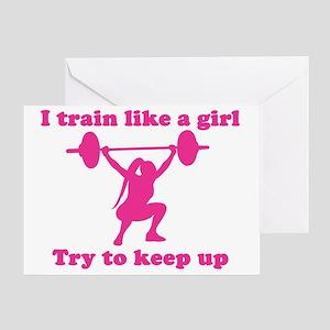 Squat greeting cards cafepress train like a girl greeting card m4hsunfo
