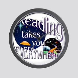 Reading Takes You Everywhere BL Wall Clock