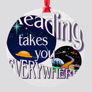 Reading Takes You Everywhere BL Round Ornament