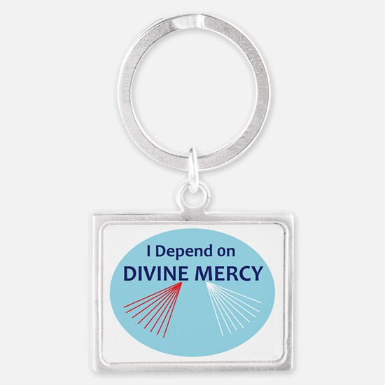 I Depend on Divine Mercy Landscape Keychain