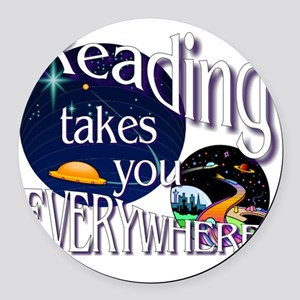 Reading Takes You Everywhere BL Round Car Magnet