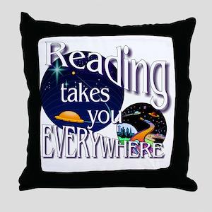 Reading Takes You Everywhere BL Throw Pillow
