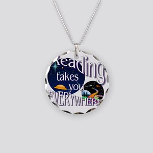 Reading Takes You Everywhere Necklace Circle Charm