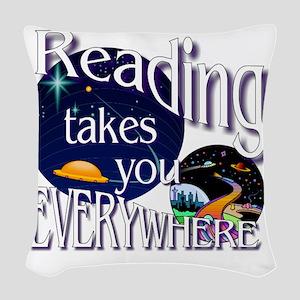 Reading Takes You Everywhere B Woven Throw Pillow