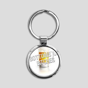 Bottoms Up Bitches Dark Round Keychain