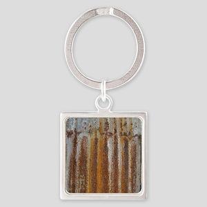 Rusty Tin Square Keychain