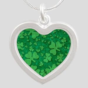 Shamrock Pattern Silver Heart Necklace