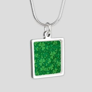 Shamrock Pattern Silver Square Necklace