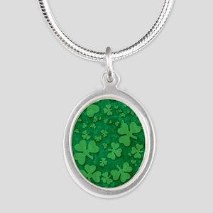 Shamrock Pattern Silver Oval Necklace