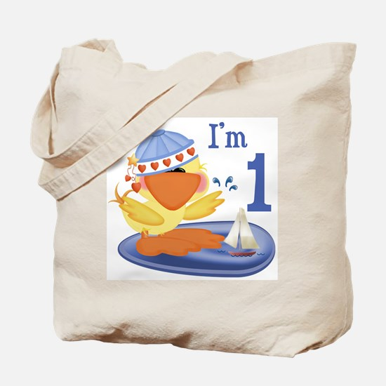 Duckie Boy First Birthday Tote Bag