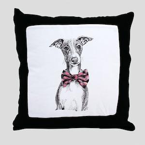 Italian Greyhound in Bow Tie Throw Pillow