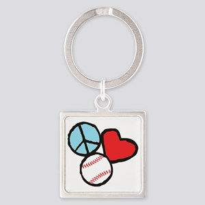 Peace, Love, Baseball Square Keychain
