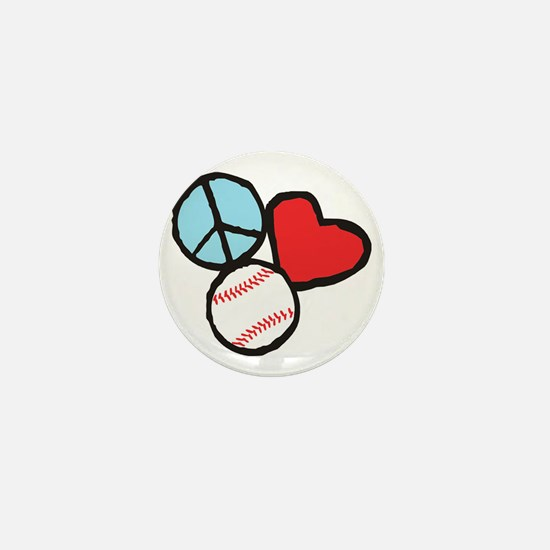 Peace, Love, Baseball Mini Button