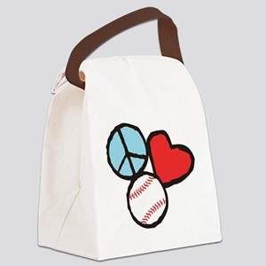 Peace, Love, Baseball Canvas Lunch Bag
