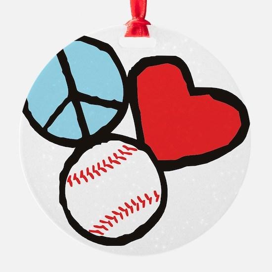 Peace, Love, Baseball Ornament
