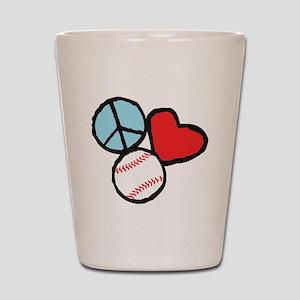 Peace, Love, Baseball Shot Glass