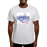 Catholic and Christian (Blue) Ash Grey T-Shirt