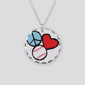 Peace, Love, Baseball Necklace Circle Charm