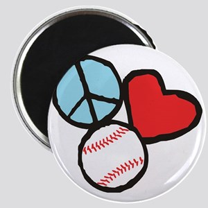 Peace, Love, Baseball Magnet