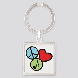 Peace, Love, Music Square Keychain