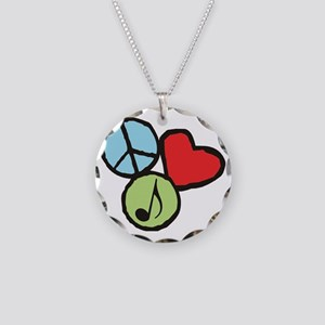 Peace, Love, Music Necklace Circle Charm