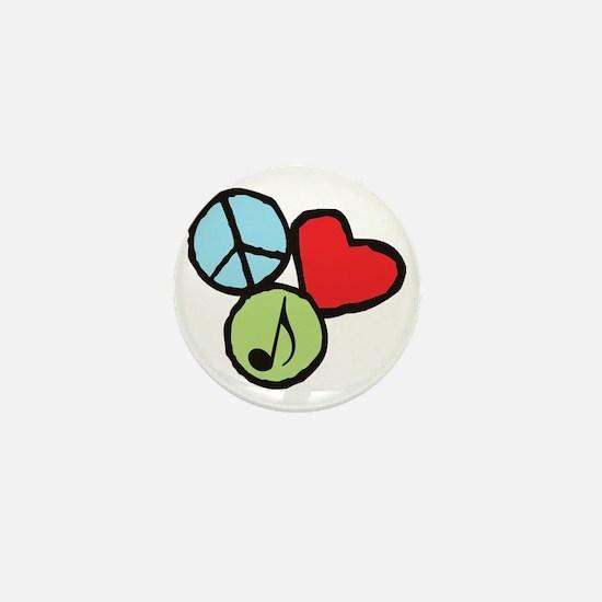 Peace, Love, Music Mini Button