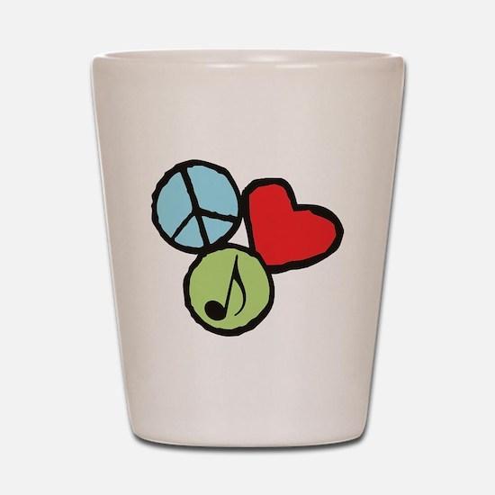 Peace, Love, Music Shot Glass