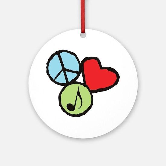 Peace, Love, Music Round Ornament