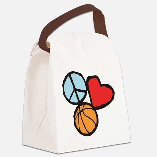 Peace, Love, Basketball Canvas Lunch Bag