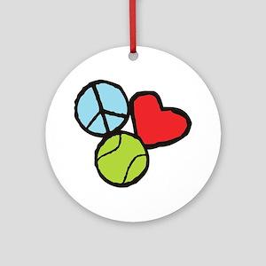 Peace, Love, Tennis Round Ornament