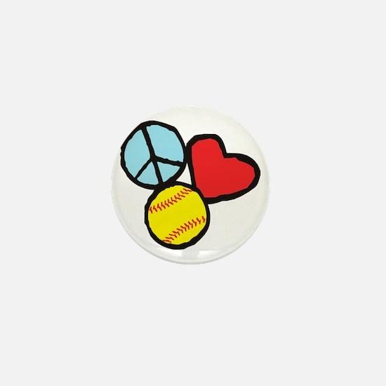 Peace, Love, Softball Mini Button