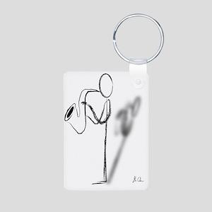 Sax Man Aluminum Photo Keychain