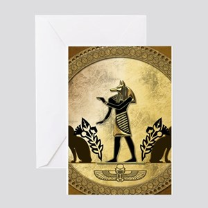 Anubis the egyptian god, gold and black Greeting C
