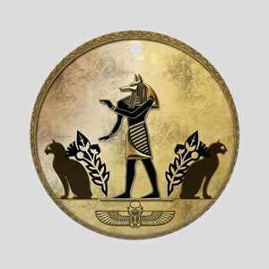 Anubis the egyptian god, gold and black Round Orna