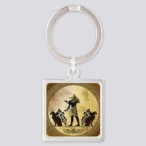 Anubis the egyptian god, gold and black Keychains