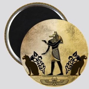 Anubis the egyptian god, gold and black Magnets