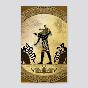 Anubis the egyptian god, gold and black Area Rug