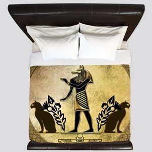 Anubis the egyptian god, gold and black King Duvet