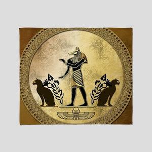 Anubis the egyptian god, gold and black Throw Blan
