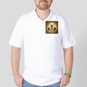 Anubis the egyptian god, gold and black Golf Shirt