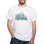 Grateful to be Catholic (Teal) White T-Shirt