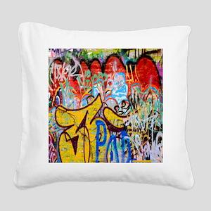 Colorful Graffiti Square Canvas Pillow
