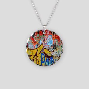 Colorful Graffiti Necklace Circle Charm