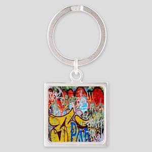 Colorful Graffiti Square Keychain